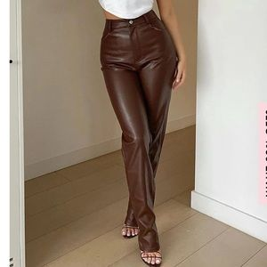 St. John leather pants Marie Gray size 4 brown